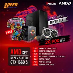AMD COMSET RYZEN5 3600/A320M S2H/8GB BUS2666/512GB M.2 PCIE/GTX1660 SUPER/750W/SPLIT G RGB