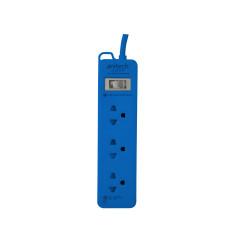ANITECH H123 POWER STRIP 3 SLOT 1 SWITCH 2M. BLUE 5Yrs.