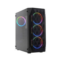 VERMAX CASE WINDMESH FAN RGB*4 BLACK MID TOWER/1Y
